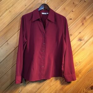Croft & Barrow Burgundy Shirt/Blouse, Large